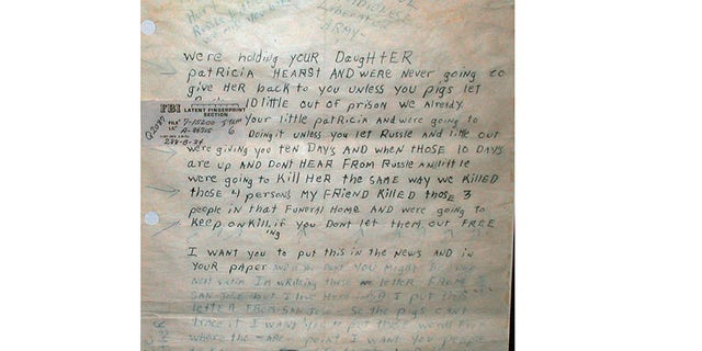 Patty Hearst kidnap letter.