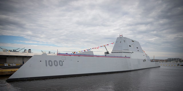 Oct. 15, 2016: The USS Zumwalt before its commissioning.