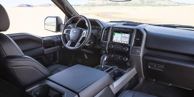 While the exterior design of the all-new Ford F-150 Raptor (SuperCrew model pictured) is about rugged capability and toughness, the interior design is about creating a comfortable place for driver and passengers to enjoy their time on- and off-road. Added content includes unique color materials and appearance levels, plus paddle shifters to manually shift Raptor's 10-speed transmission.