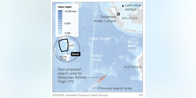 A map shows a new proposed search area for MH370 debris.