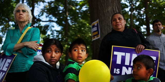 NEW HAVEN, CT - OCTOBER 05: Advocates for immigration reform gather as part of the National Day for Dignity and Respect on October 5, 2013 in New Haven, Connecticut. Attendees signed petitions, listened to speeches and celebrated the Connecticut immigrant community. About 175 marches and gatherings are expected to take place across the country on Saturday. An immigration reform bill was unveiled earlier this week by House Democrats. (Photo by Spencer Platt/Getty Images)