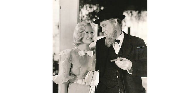 """Miriam Hopkins with Lionel Barrymore in MGM's 1933 """"The Stranger Returns""""."""