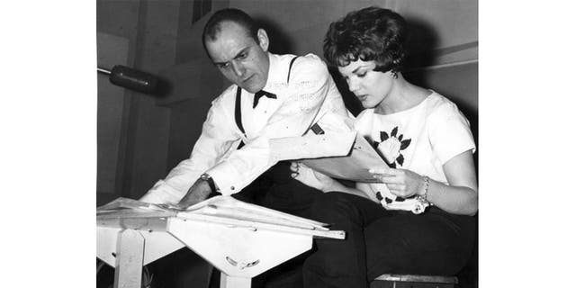 Connie Francis creating music in 1960 with Richard Wess, Bobby Darin's arranger.
