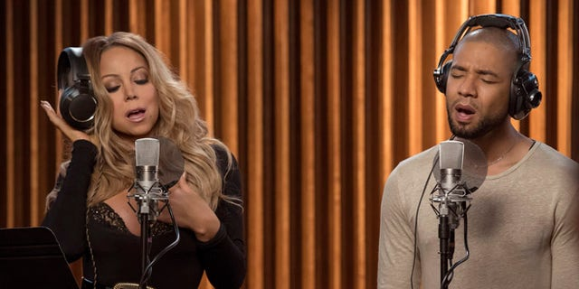 "EMPIRE: Pictured L-R: Guest star Mariah Carey and Jussie Smollett in the ""What Remains is Bestial"" episode of EMPIRE airing Wednesday, Oct. 5 (9:00-10:00 PM ET/PT) on FOX. ©2016 Fox Broadcasting Co. CR: Chuck Hodes/FOX"