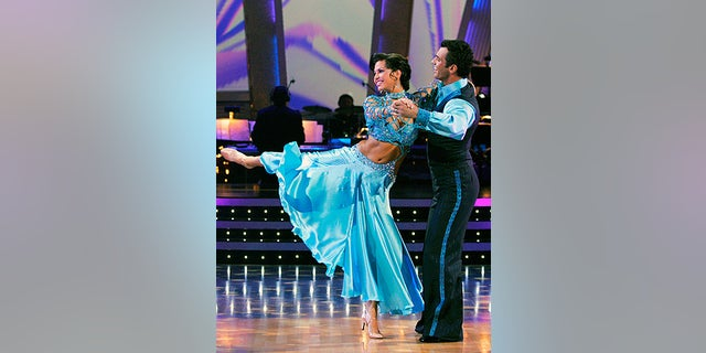 """Melissa Rycroft and her partner Tony Dovolani perform on the celebrity dance competition series, """"Dancing with the Stars,"""" in Los Angeles."""