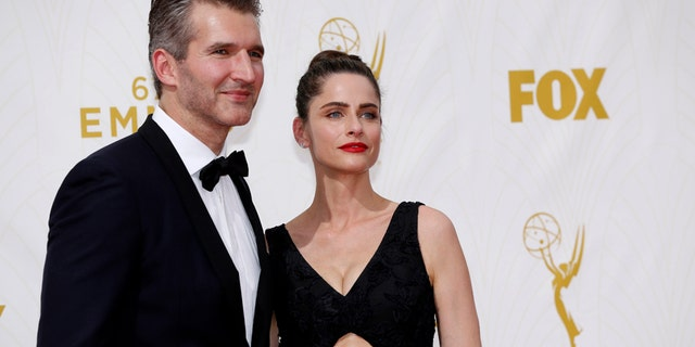 Writer David Benioff and wife, actress Amanda Peet, arrive at the 67th Primetime Emmy Awards in Los Angeles, California September 20, 2015.