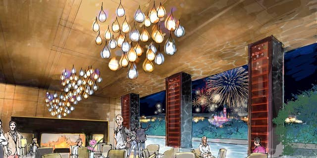 Enjoy dining on the rooftop lounge while taking in the theme park's nightly fireworks show.