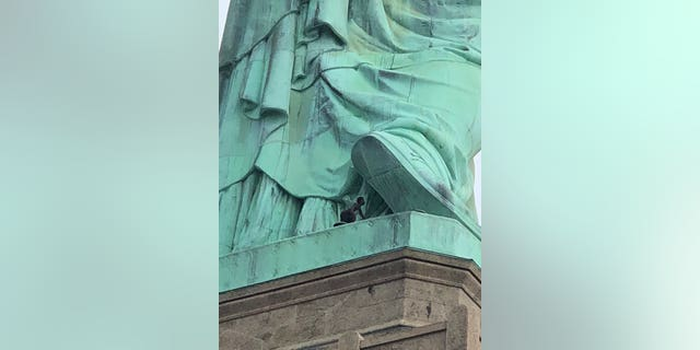 The woman who climbed the Statue of Liberty protested alongside New York-based activist group Rise and Resist earlier on Wednesday before scaling the national monument.