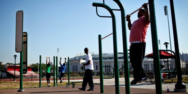 """People work out in an outdoor """"Adult Playground"""" exercise area at Macombs Dam Park in the Bronx section of New York City"""