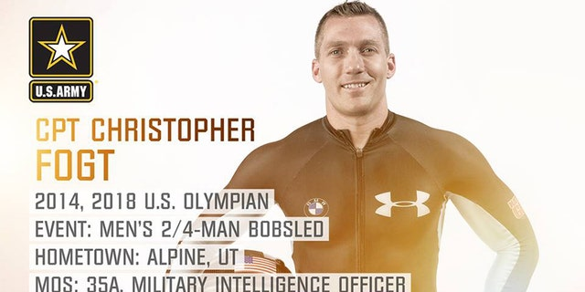 Cpt. Chris Fogt from Alpine, Utah, a bronze medalist in the 2014 games in Sochi, will join the bobsled team.