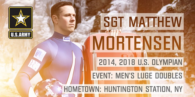 Sgt. Matthew Mortensen from Huntington Station, N.Y. is competing in doubles Luge.