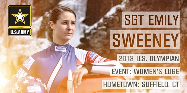 Sgt. Emily Sweeney from Suffield, Conn. is competeing in singles Luge.