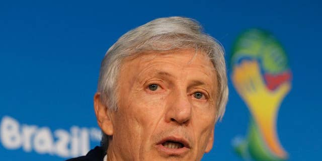 Colombia's head coach Jose Pekerman speaks during a press conference at Arena Pantanal in Cuiaba, Brazil, Monday, June 23, 2014.  Colombia play in group C of the 2014 soccer World Cup. (AP Photo/Shuji Kajiyama)