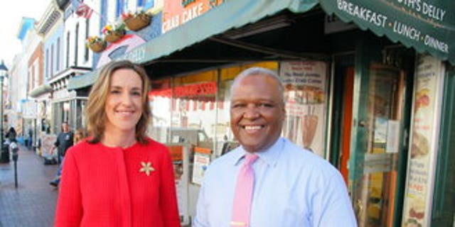 Prince George's County Executive Rushern Baker, who is running for the Democratic nomination for governor in Maryland, with running-mateElizabeth Embry