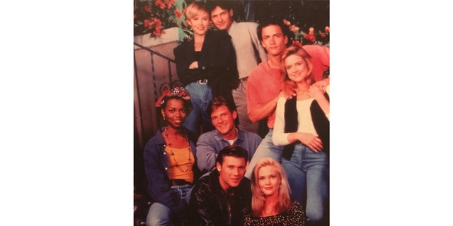 "Amy Locane-Bovenizer, sitting at the bottom, in ""Melrose Place."""