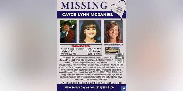 A Missing Persons flyer with a sketch of the suspect initially released.
