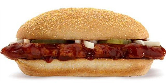 FILE - This undated file product image provided by McDonald's shows their McRib sandwich. McDonald's Corp. announced Monday, Oct. 24, 2011, that the boneless barbecue pork sandwich, usually available in only a few stores at a time, will be sold at all U.S. locations through Nov. 14. (AP Photo/McDonald's, File)