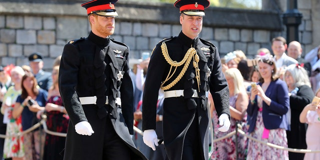 Prince Harry opted for a black military uniform for the big day.