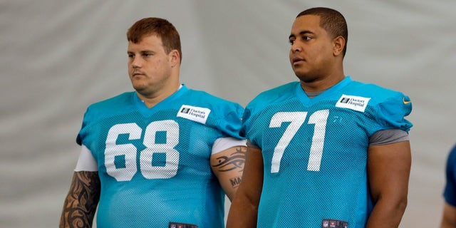 """FILE - In this July 24, 2013, file photo, Miami Dolphins guard Richie Incognito (68) and tackle Jonathan Martin (71) stand on the field during NFL football practice in Davie, Fla. Incognito has lashed out at Martin on Twitter, saying """"The truth is going to bury you and your entire 'camp.' You could have told the truth the entire time."""" Incognito also wrote Martin told him he thought about committing suicide last May because he wasn't playing well. Incognito's series of tweets Wednesday, Feb. 12, 2014, directed at Martin and his representatives come as the NFL is preparing to release a report on the Dolphins' bullying case which could shed light on their relationship. (AP Photo/Lynne Sladky, File)"""