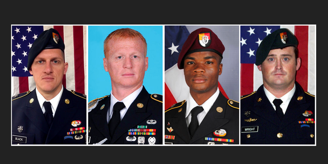 From left, Staff Sgt. Bryan C. Black, 35, of Puyallup, Wash.; Staff Sgt. Jeremiah W. Johnson, 39, of Springboro, Ohio; Sgt. La David Johnson of Miami Gardens, Fla.; and Staff Sgt. Dustin M. Wright, 29, of Lyons, Ga. All four were killed in Niger, when a joint patrol of American and Niger forces was ambushed by militants believed linked to the Islamic State group.