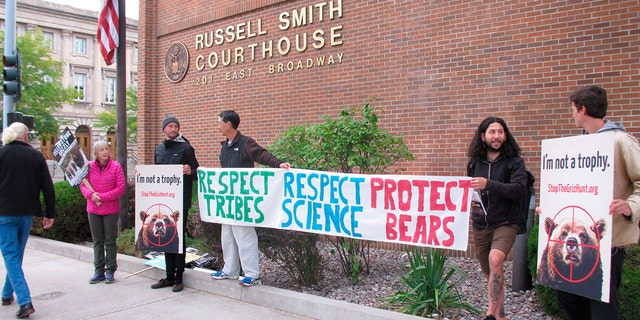 A small group of grizzly bear advocates protest outside the U.S. District Court in Missoula, Montana, on Thursday, August 30, 2018. Wildlife advocates pressed a Montana judge Thursday to restore federal protections for a group of about 700 grizzly bears and block hunting that's set to begin this weekend, but the judge said he would not make an immediate ruling.