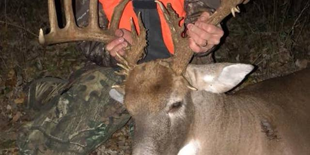 """Tim Phillips said he """"bagged"""" a 39-point buck on Saturday after hunting it for four years.  (Scott Dyer)"""