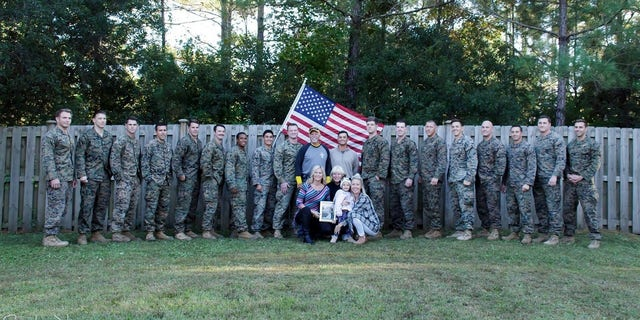 Sixteen servicemen joined Lohrey for her gender reveal party.