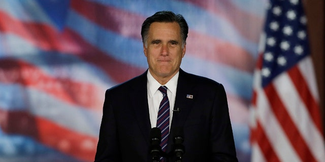 Nov. 7, 2012: Mitt Romney arrives at his election night rally in Boston.