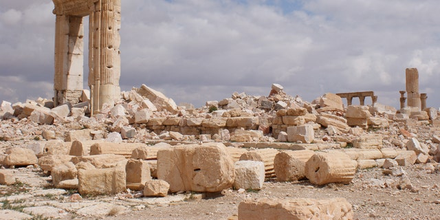 Palmyra's Great Colonnade after ISIS destruction.