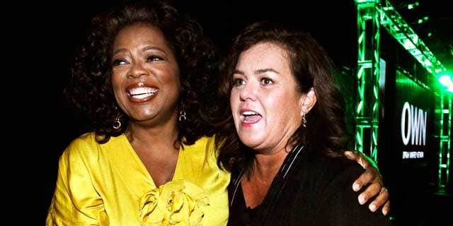 Oprah Winfrey, Chairman, CEO, and Chief Creative Officer of OWN: Oprah Winfrey Network, poses with Rosie O'Donnell at their Television Critics Association presentation on July 29, 2011. (Reuters)