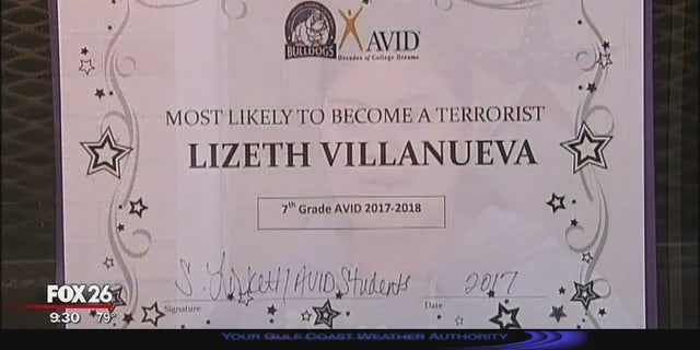 """A Texas teacher who presented a student with a """"most likely to become a terrorist award"""" has been fired. (Fox 26 Houston)"""