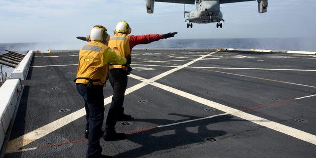 An MV-22 Osprey aboard the USS Mesa Verde.