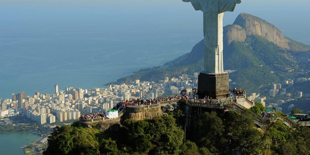 An aerial view of the 'Christ the Redeemer' statue on top of Corcovado mountain in Rio de Janeiro, Brazil.