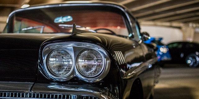 A 1958 Chevrolet Impala is one of a few American classics among the exotics.