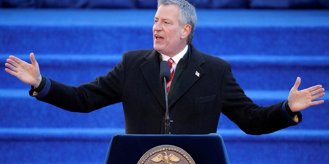New York City Mayor Bill de Blasio delivering a speech.