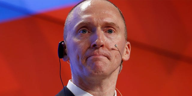 One-time advisor of U.S. president-elect Donald Trump Carter Page addresses the audience during a presentation in Moscow