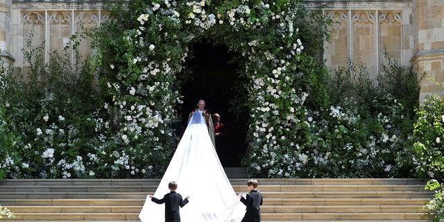 Meghan Markle and her bridal party arrive at St George's Chapel at Windsor Castle for her wedding to Prince Harry in Windsor, Britain, May 19, 2018.
