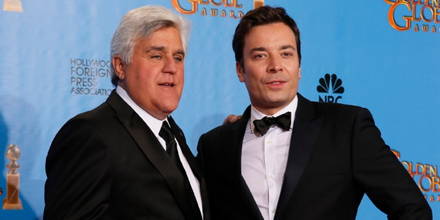 Jay Leno with NBC talk show host, Jimmy Fallon.