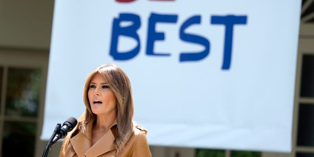 In this May 7, 2018, file photo, first lady Melania Trump speaks on her initiatives during an event in the Rose Garden of the White House in Washington.