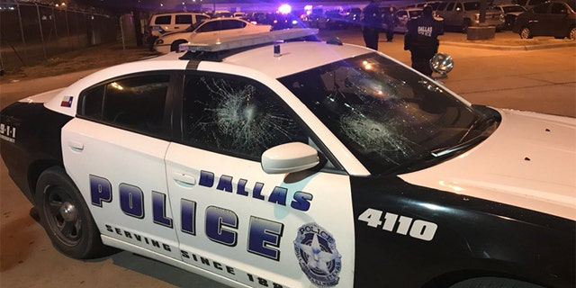 At least 12 police cars were reported damaged Sunday morning.