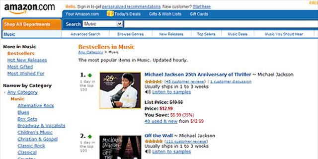 Amazon.com's CD sales page on Friday morning, June 26.