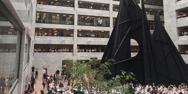 The protest, which included 100 demonstrators and possibly just as many police, took place in the Hart Senate Office Building.