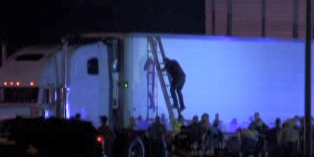Authorities discovered nearly 100 illegal immigrants inside of a tractor trailer near Raymondville, Texas on Tuesday.