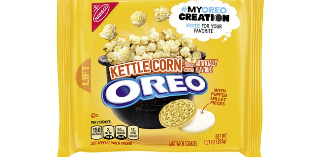 Kettle Corn Oreos feature golden wafers with a kettle corn-flavored creme and puffed millet bits.