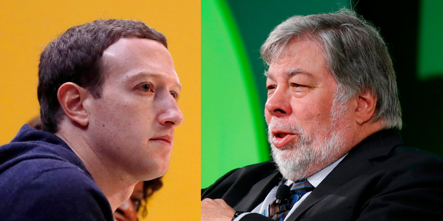 Apple Co-Founder Steve Wozniak, right, criticized Facebook chief Mark Zuckerberg for what he says is his hypocrisy on privacy matters.