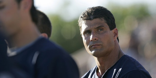 Former Major League Baseball player Jose Canseco during a game against the Chico Outlaws July 3, 2006 in Chico, Calif.