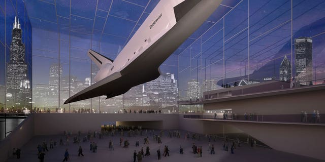 The Adler Planetarium's state-of-the-art glass pavilion and learning center would suspend a shuttle against the backdrop of Lake Michigan to one side and the Chicago, Illinois skyline to the other.