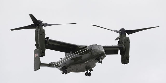 File photo: FILE - In this April 22, 2015 file photo, a Marine Corps MV-22 Osprey comes in for a landing at Miami International Airport before a presidential visit, in Miami. (AP Photo/Wilfredo Lee) (Copyright 2017 The Associated Press. All rights reserved.)