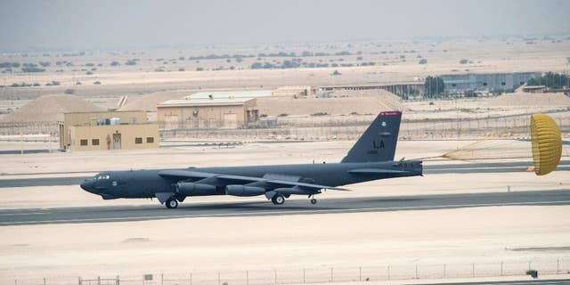 A U.S. Air Force B-52 Stratofortress aircraft arriving in Qatar on April 9.