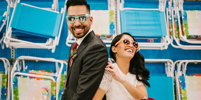 he caught sweet shots of the couple sharing a slushie, trying Rich caught photos of the pair trying on sunglasses, riding a bicycle, picking up frozen pizzas, and enjoying all the retail superstore has to offer.